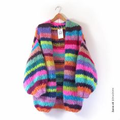 A unique luxury rainbow cardigan Chunky Knit Cardigan, Crochet Cardigan, Knit Crochet, Chunky Knits, Rainbow Cardigan, Mohair Yarn, Knit Fashion, Baby Knitting, Vogue Knitting