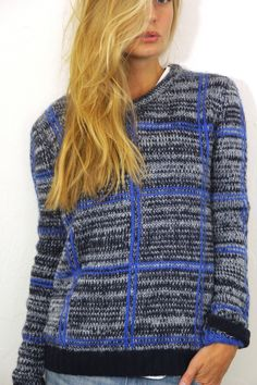 Blue and Black Tartan Print Knit Sweater #ustrendy www.ustrendy.com