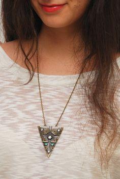 Geometric necklace. Stylish Bronze Plated Geometric Necklace. Nice Geometric Necklace.