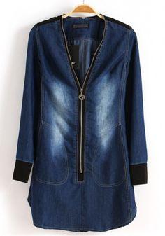 Blue Zipper Collarless Long Sleeve Denim Dress