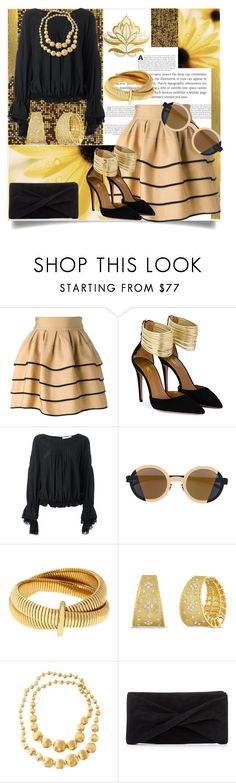 """Gold Henna Design"" by helenaymangual ❤ liked on Polyvore featuring FAUSTO PUGLISI, Aquazzura, Chloé, Mykita, Diane Von Furstenberg, Roberto Coin, Marco Bicego and Reiss"