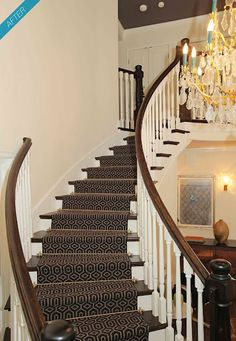 Once we pull up the carpet, maybe we can make our stairs look like this!