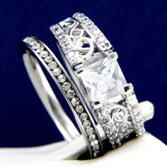 2.10 CT Clear CZ Engagement Brass Wedding 316L Stainless Steel Band Ring Set #InterStoreJewelry