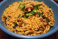 Whole Wheat Orzo Pasta, Spinach, & Mushroom Salad
