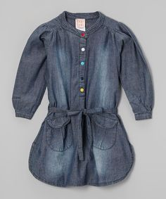 Love this Navy Chambray Shirt Dress - Toddler & Girls by baobab on #zulily! #zulilyfinds