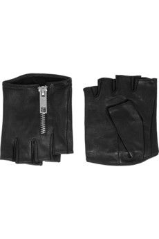 Karl Lagerfeld Zipped fingerless leather gloves | NET-A-PORTER