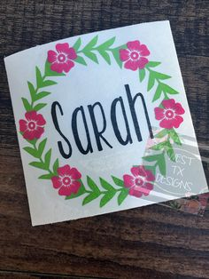 Wreath Personalized Decal   Flower Decal   Laurel Wreath   Yeti Tumbler Decal…