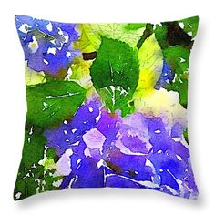 """memories of summer II blue hydrangeas 16"""" x 16"""" Throw Pillow by Anna Porter.  Multiple sizes available."""
