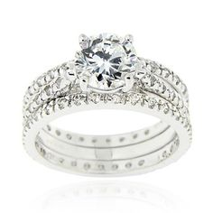Shop for Icz Stonez Sterling Silver Prong-set Cubic Zirconia Bridal Ring Set. Get free delivery On EVERYTHING* Overstock - Your Online Jewelry Shop! Bridal Ring Sets, Bridal Rings, Silver Wedding Rings, Wedding Jewelry, Engagement Ring Settings, Engagement Rings, Wedding Engagement, Wedding Sets, Wedding Fun
