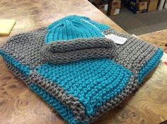 Handmade knitted preemie baby blanket and hat set