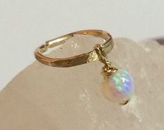 Silver Cartilage Earring tiny opal cartilage by FlowerRainbowNJ