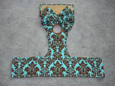 "Female Dog Diaper - Teal and Brown Damask Pattern Dog Panties/Diaper, XS (waist 10-12"") and Small (waist 12-14"") - All Sizes Available. $10.00, via Etsy."