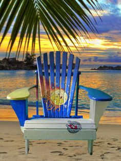 Transport yourself to a tropical island paradise!  You will swear you can hear the waves and feel the breeze as soon as you relax in this beautiful and original Adirondack chair - so comfortable you will want to relax from sunrise to sunset.    Solid wood, screwed (not stapled)  hand painted and sealed with three coats of polyurethane for  long lasting durability.     Hand Painted Solid Wood Adirondack Chair Three coats polyurethane  Dimensions 33 W x 38 D x 35 H