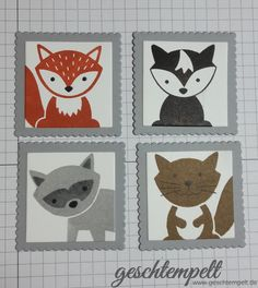 Stampin up, Briefmarken Technik, Postage Stampin Technique, Anleitung in Bildern, Tutorial, Foxy Friends, Konfetti Grüße, Confetti Celebration