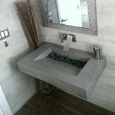 "30"" ADA Concrete Floating Bathroom Sink - Trueform"