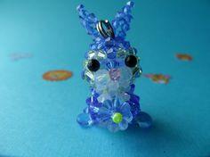 Blue Bunny  Swarovski Crystal Bead by kawaiibead on Etsy, $30.00
