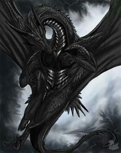 The monstrous, evil, black dragon from Dominion