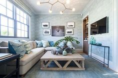 Design firm Bjornen Design featured Vinyl Split Bamboo 3643 Blue Daiquiri in the living room of the 2014 Hamptons Holiday House.