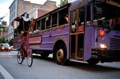 For a Not so Serious (but very informative) tour of Asheville, jump on the Purple Bus.  And, yes, Sister Bad Habit rides a six foot tall bicycle.  Lazoom Tours