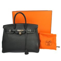 43a52ab37c3c Authentic HERMES BIRKIN 35 Black Togo Leather Hand Bag France Excellent Buy  It Now  12