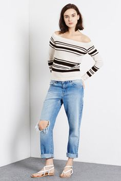 Discover new season clothes and accessories at Warehouse. Shop the latest style and trends across women's and men's fashion now. Fashion Now, Latest Fashion Clothes, Womens Fashion, Bardot Top, Off Shoulder Tops, Black Stripes, New Outfits, Jumper, Sweater