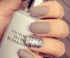 Matte taupe nails with silver sparkle Click the website to see how I lost 21 pounds in one month with free trials