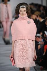 Oscar de la Renta at New York Fashion Week Spring 2008 - Will always love this color. It's ultra-feminine. Sweet knit shawl over a delicate dress. Lovely.