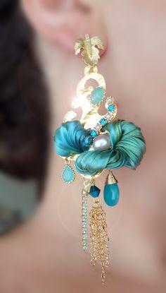 EARRINGS (Shibori silk ribbon) Serena Di Mercione Design