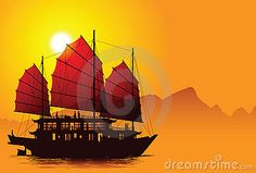 © Smulsky (Smulskiy Alexander)   Dreamstime.com    Silhouette of chinese junk with mountains on the background.