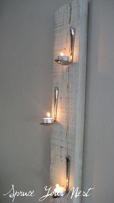 30 Innovative DIY Candles - tea spoon and tea light wall art Hanging Tea Lights, Wall Lights, Diy Hanging, Hanging Towels, Light Wall Art, Deco Originale, Ways To Recycle, Ideias Diy, Diy Candles