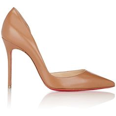 Christian Louboutin Iriza Half D'Orsay Pumps ($675) ❤ liked on Polyvore featuring shoes, pumps, nude, pointed-toe pumps, christian louboutin shoes, nude high heel pumps, slip on shoes and christian louboutin stilettos