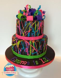 Black Splatter Cake - Cake by NicholesCustomCakes