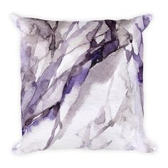 Ultra Violet Purple Watercolor Abstract Marble Square Pillow