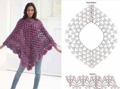 Martha Stewart's Welcome Home poncho. When it first was published I made about six ponchos from this pattern and they all came out beautiful!Southern Diamonds Poncho Stitch Diagram Rounds by diana hackovani special hackovane obrazky do oken a Crochet Shawl Diagram, Crochet Poncho Patterns, Crochet Stitches, Knitting Patterns, Crochet Cape, Crochet Jacket, Crochet Cardigan, Free Crochet, Pancho Au Crochet