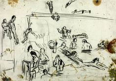 Leon Kossoff, 'Drawing for 'Children's Swimming Pool'' 1971