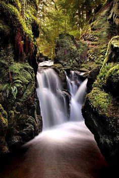 Twin Falls in Puck's Glen, Scotland.