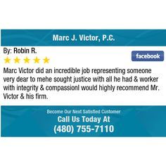 Marc Victor did an incredible job representing someone very dear to mehe sought justice...