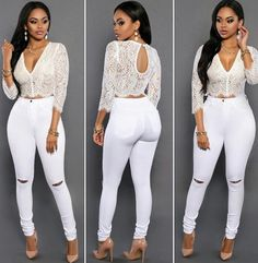 ChicCoutureOnline in white jeans Big Girl Fashion, White Fashion, European Fashion, Curvy Fashion, Womens Fashion, Curvy Outfits, Sexy Outfits, Stylish Outfits, Girl Outfits