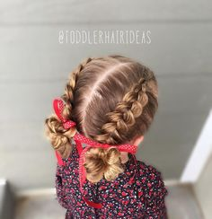 """Mi piace"": 567, commenti: 31 - Cami Toddler Hair Ideas (@toddlerhairideas) su Instagram: ""Today I did 2 pancaked Dutch braids down to messy buns! #toddlerhair #toddlerhairideas…"""