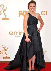 Black Aimee Teegarden One-Shoulder Floor Length Taffeta Emmy Awards Dress - Milanoo.com