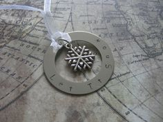 Hand stamped metal Christmas ornament Let it snow by lauriebale, £6.50