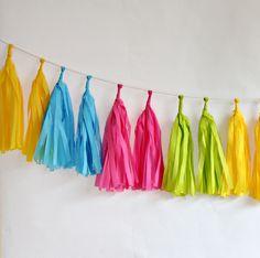 Tissue Paper Tassel Garland Kit, Neon | 16ct