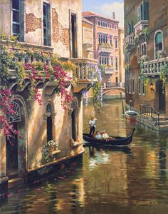 Afternoon Chat Venice Canal Cityscape Tapestry Wall Hanging by Sung Kim