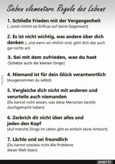 Seven Elementary Rules of Life . Good To Know, Feel Good, German Language Learning, Really Funny, Better Life, No Time For Me, Self Love, Affirmations, Life Quotes