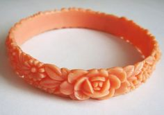 Carved celluloid bangle