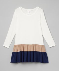 Love this Mocha & Navy Color Block Ruffle Tunic - Girls on #zulily! #zulilyfinds