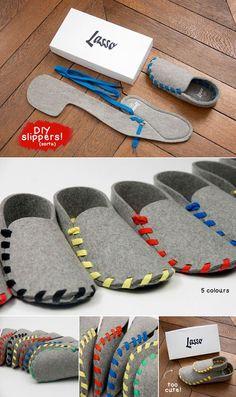 techlovedesign: Lasso: DIY Felt Slippers    http://www.craftinspirationstudio.com/archives/diy-lasso-shoes.html
