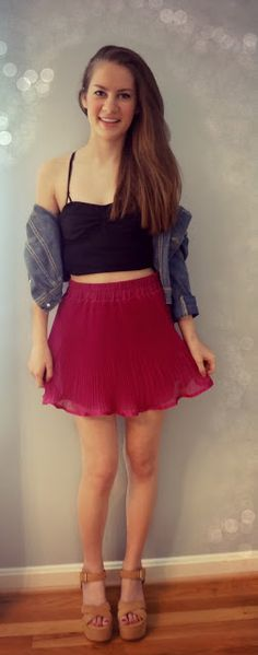 bright skirt with denim jacket