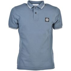 Stone Island Logo Polo Shirt (4.960 RUB) ❤ liked on Polyvore featuring tops, avio, stone island top, logo top, polo shirts, blue top and stone island