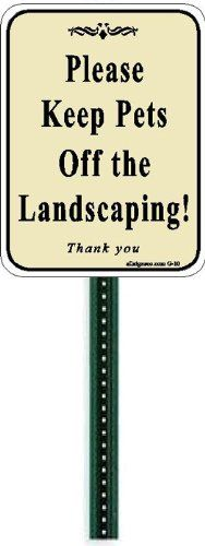 Yard Signs - Small Discreet Please Keep Pets Off The Landscaping Lawn Sign and 1ft Steel Post Mounted To Place In Your Lawn Or Garden * Learn more by visiting the image link. (This is an Amazon affiliate link)